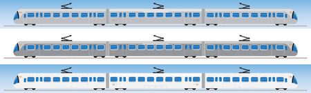 streetcar: Side view of Tram car or trolley car flat design Vector Illustration