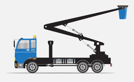 crane truck: Side view of Crane truck with Bucket  Vector Illustration