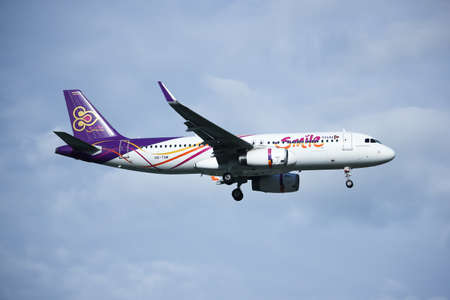 CHIANGMAI, THAILAND - SEPTEMBER  4  2016:  HS-TXM Airbus A320-200 of Thaismile airway. Landing to Chiangmai airport from Bangkok.