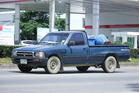 CHIANGMAI, THAILAND -AUGUST 10 2016: Private Pickup car, Toyota Hilux.  On road no.1001, 8 km from Chiangmai Business Area.