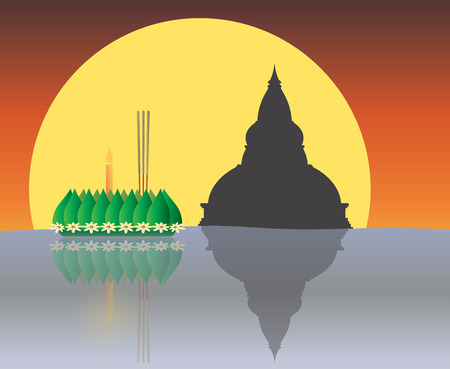krathong: Loy Krathong with The Big Moon backgrond, Thai full moon traditional festival, illustration vector