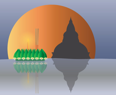 loy krathong: Loy Krathong with The Big Moon backgrond, Thai full moon traditional festival, illustration vector