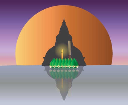 Loy Krathong with The Big Moon backgrond, Thai full moon traditional festival, illustration vector