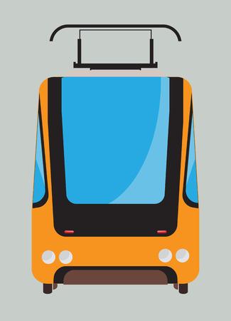 tramcar: Front view of Tram car or trolley car flat design Vector Illustration