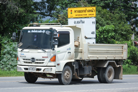 north star: CHIANGMAI, THAILAND -AUGUST 18 2016:  Hino Dump Truck of Chiangmai North Star Company.  On road no.1001, 8 km from Chiangmai city.
