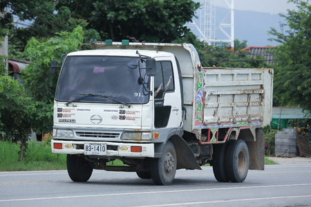 truckload: CHIANGMAI, THAILAND -AUGUST 18 2016:  Private Old Hino Dump Truck.  On road no.1001, 8 km from Chiangmai city. Editorial