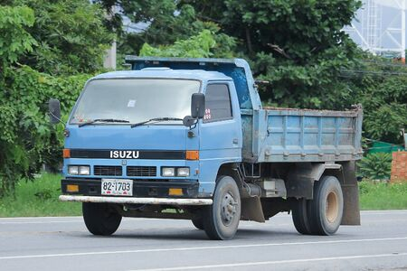 truckload: CHIANGMAI, THAILAND -AUGUST 18 2016:  Private Old isuzu Dump Truck.  On road no.1001, 8 km from Chiangmai city.