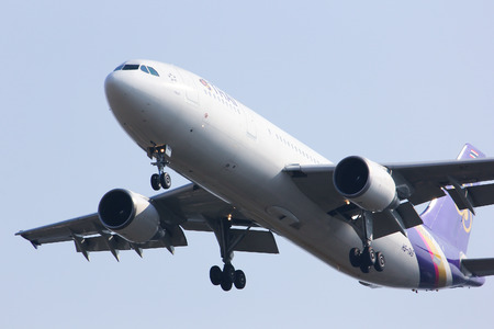 CHIANGMAI , THAILAND - JANUARY 9 2013:: HS-TAS Airbus A300-600R of Thaiairway. Landing to Chiangmai airport from Bangkok Suvarnabhumi.