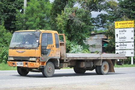 truckload: CHIANGMAI, THAILAND -AUGUST 18 2016:  Private Old Hino Truck. On road no.1001, 8 km from Chiangmai city.