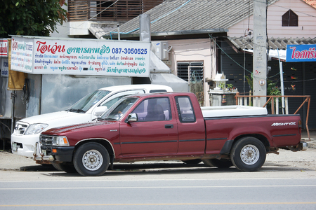 CHIANGMAI, THAILAND -AUGUST 18 2016:  Private Pickup car, Toyota Hilux Tiger. Photo at road no 121 about 8 km from downtown Chiangmai, thailand.