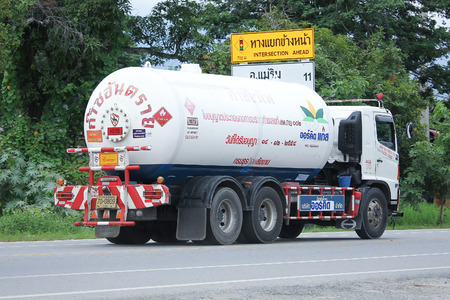 ngv: CHIANGMAI, THAILAND -SEPTEMBER 1 2016:  Lamphun Gas Picnic Company Tank Truck. Photo at road no.1001 about 8 km from city center, thailand. Editorial