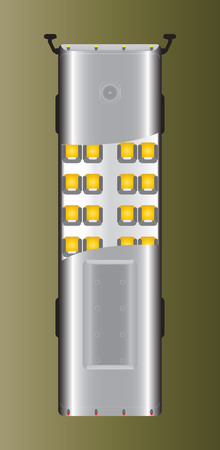 detail: Top view of city bus with seat detail  Vector Illustration