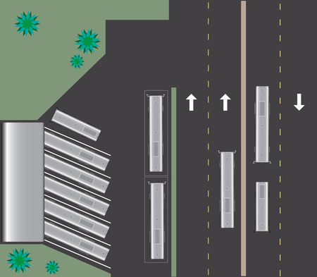 bus station: Top view of bus Station Landscape Vector Illustration
