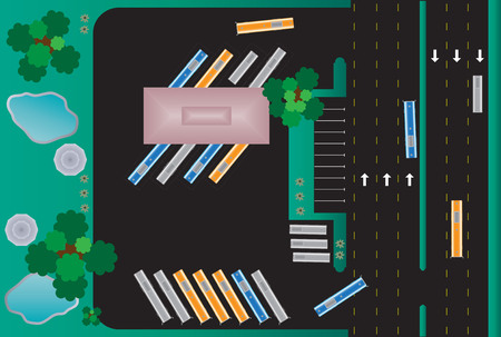 bus station: Top view of Rectangle building bus station Landscape Vector Illustration
