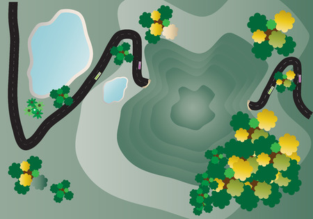 mountain view: Top view of Landscape Mountain and road Vector Illustration