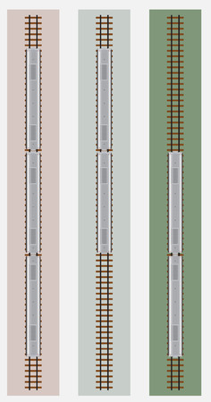 railcar: Top View of Diesel Railcar train with Track  Vector Illustration