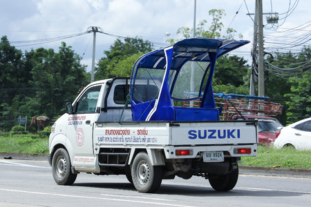 CHIANGMAI, THAILAND - OCTOBER 6  2016: Private Suzuki Carry Pick up car. Photo at road no 121 about 8 km from downtown Chiangmai, thailand.