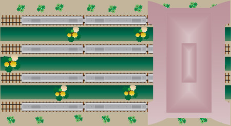 railcar: Top View of Diesel Railcar train at Station Vector Illustration