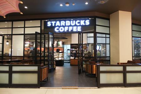 starbucks coffee: CHIANGMAI, THAILAND -OCTOBER 21 2016:  Starbucks coffee Inside of Central Festival Chiangmai. New Business Plaza of Chiangmai. About 3 Km. from Chiangmai City, Thailand