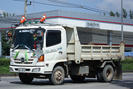 highway 6: CHIANGMAI, THAILAND - OCTOBER 9  2016:  Private Hino Dump Truck. Series 500 FC9J.  On road no.1001, 8 km from Chiangmai Business Area. Editorial
