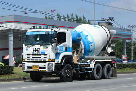 concrete truck: CHIANG MAI, THAILAND - OCTOBER  28  2016: Concrete truck of CPAC Concrete product company. Photo at road no.121 about 8 km from downtown Chiangmai, thailand. Editorial