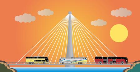 cable suspension Bridge with Nature  Landscape Background  vector Illustration Illustration
