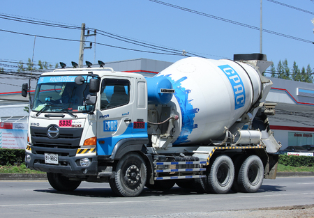 concrete truck: CHIANG MAI, THAILAND - OCTOBER  31  2016: Concrete truck of CPAC Concrete product company. Photo at road no.121 about 8 km from downtown Chiangmai, thailand.