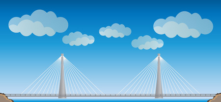 Two cable suspension Bridge with Nature  Landscape Background  vector Illustration