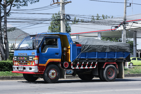 CHIANG MAI, THAILAND - NOVEMBER  6  2016: Private Toyota Dyna Dump Truck. On road no.1001, 8 km from Chiangmai city.