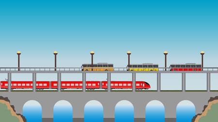 high speed train: Double deck Bridge upper for road and lower for high speed train  Vector Illustration
