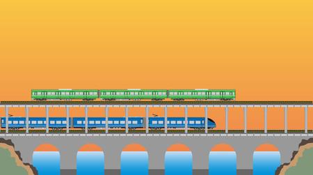 high speed train: Double deck Bridge upper for railcar train and lower for high speed train  Vector Illustration