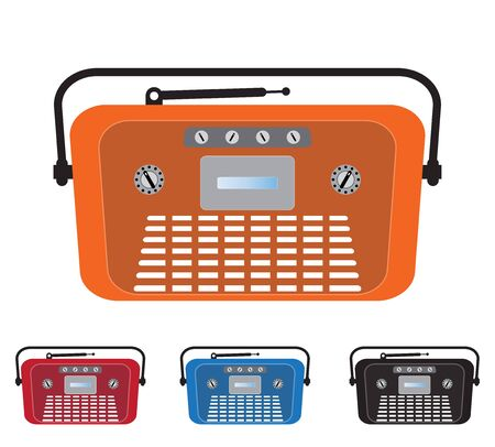 old radio: Set of Vintage Old Radio Vector Illustration