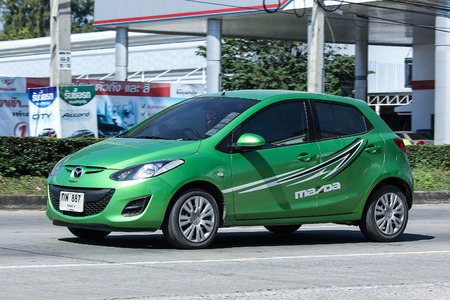 2 november: CHIANG MAI, THAILAND - NOVEMBER  18  2016: Private car, Mazda 2. On road no.1001, 8 km from Chiangmai Business Area.