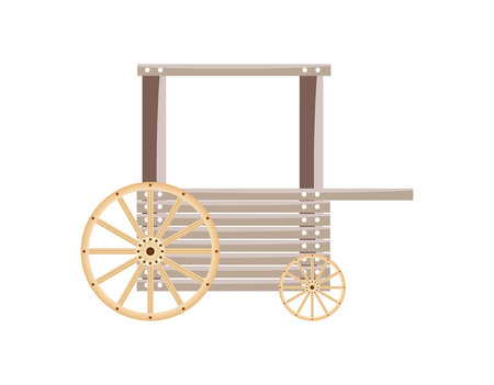 Wooden cart isolated on white background Vector  illustration