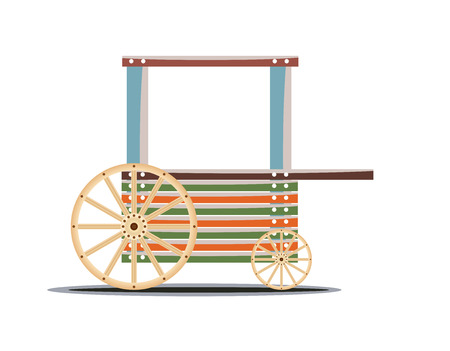 wagon wheel: Wooden cart isolated on white background Vector  illustration