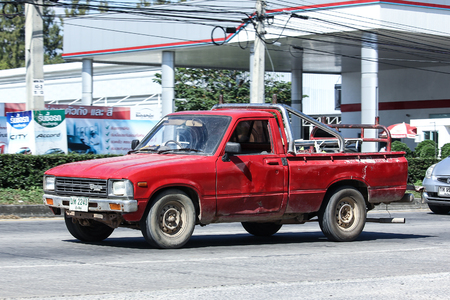 CHIANG MAI, THAILAND - NOVEMBER  26  2016: Private old Pickup car, Toyota Hilux. On road no.1001, 8 km from Chiangmai city.