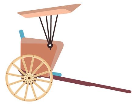 rikscha: Hand pulled rickshaw isolated on white background