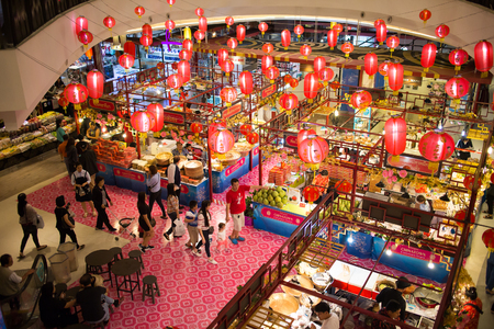 CHIANG MAI, THAILAND -JANUARY 28 2017: China Town Food center Area Inside of Central Festival Chiangmai. 3 Km. from Chiangmai City, Thailand. Editorial