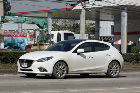 CHIANG MAI, THAILAND -JANUARY 13 2017: Private car, Mazda3. Photo at road no.121 about 8 km from downtown Chiangmai, thailand.