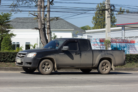 CHIANG MAI, THAILAND -JANUARY 16 2017: Private Mazda Pickup truck. Photo at road no 121 about 8 km from downtown Chiangmai, thailand.