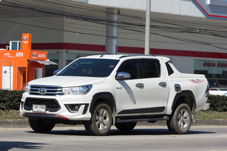 CHIANG MAI, THAILAND -JANUARY 16 2017: Private Pickup Truck Car Toyota Hilux. On road no.1001, 8 km from Chiangmai city.