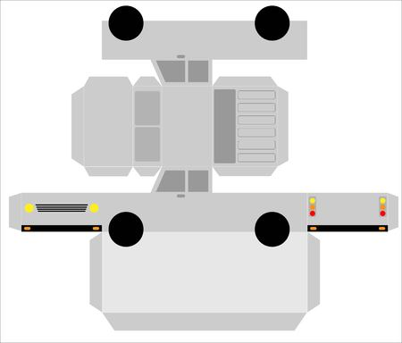 Simple Truck paper model on white background Illustration