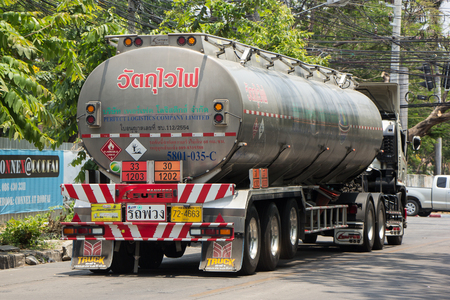 CHIANG MAI, THAILAND -APRIL 25 2017:  Oil Truck of Perfect Logistic Oil transport Company. Truck from Petro Station nearby Chiangmai Train Station.