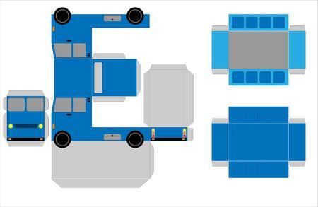 Simple Dump Truck paper model  on white background Illustration