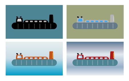 Simple Passenger hovercraft on sea background  Vector illustration