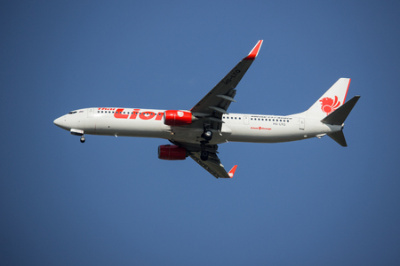 CHIANG MAI, THAILAND -APRIL 29 2017: HS-LTO Boeing 737-900ER of Thai lion air airline , landing to Chiangmai airport from Bangkok Don Muang Airport, thailand. Editorial