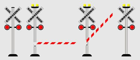 Set van Crossing Rail Road Sign Vector Liiustrator Stock Illustratie
