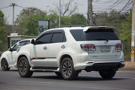 CHIANG MAI, THAILAND -APRIL 10 2017: Private suv car, Toyota Fortuner. Photo at road no 121 about 8 km from downtown Chiangmai, thailand.