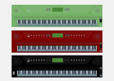 old notebook: Top View Set of Eletric Portable Piano or Keyboard Vector art and illustration
