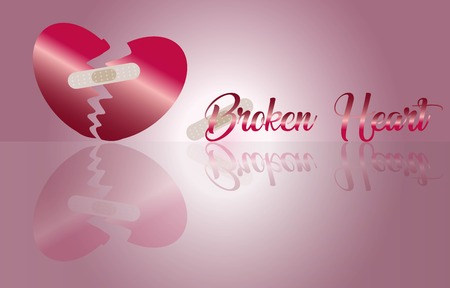 Broken Heart art and word for Abstract Background Vector art and Illustration